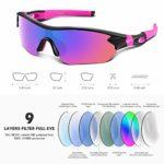Lunettes de Soleil Sports Polarisées pour Hommes Femmes Jeunes Baseball Cyclisme Course Pêche Golf Moto UV400 Lunettes,Pour Surf Conduite Vélo Ski Pêche Golf Et Activités D'extérieur (Rose)