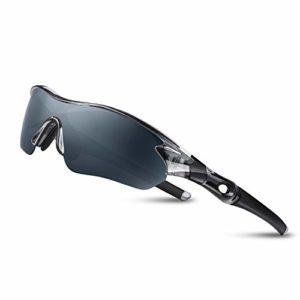 Lunettes de Soleil Sports Polarisées pour Hommes Femmes Jeunes Baseball Cyclisme Course Pêche Golf Moto UV400 Lunettes,Pour Surf Conduite Vélo Ski Pêche Golf (Gris Transparent)