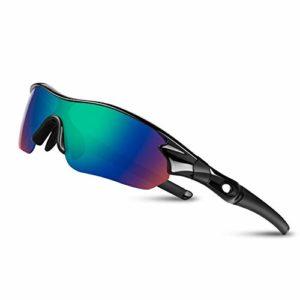 Lunettes de Soleil Sports Polarisées pour Hommes Femmes Jeunes Baseball Cyclisme Course Pêche Golf Moto UV400 Lunettes,Pour Surf Conduite Vélo Ski Pêche Golf(Noir Bleu Brillant)
