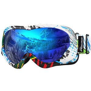 OutdoorMaster Masque de Ski pour Enfants Lunettes Compatibles avec Un Casque pour Garçons et Filles avec Une Protection UV à 100% (Color Pattern Frame + VLT 15% Grey Lens with Full REVO Blue)