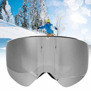 Pbzydu Lunettes de Ski, Sports de Plein air à Double lentille Vue Large Anti-buée poussière Vent Ski Escalade Masque de Protection des Yeux Lunettes pour Hommes Femmes Adultes(Argent)