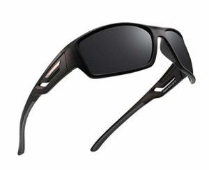 PUKCLAR Lunettes de soleil polarisées pour hommes et femmes de conduite Lunettes de soleil de cyclisme, course à pied, de pêche, monture incassable – Noir – L