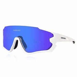 Queshark Lunettes de Soleil Sports Polarisées pour Hommes Femmes Cyclisme Course Pêche Golf Moto UV400 Lunettes 4 Objectif Interchangeable QE45 (Blanc)