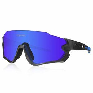 Queshark Lunettes de Soleil Sports Polarisées pour Hommes Femmes Cyclisme Course Pêche Golf Moto UV400 Lunettes 4 Objectif Interchangeable QE45 (Bleu Noir)