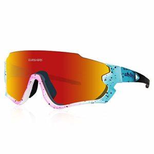 Queshark Lunettes de Soleil Sports Polarisées pour Hommes Femmes Cyclisme Course Pêche Golf Moto UV400 Lunettes 4 Objectif Interchangeable QE45 (Bleu Rose)