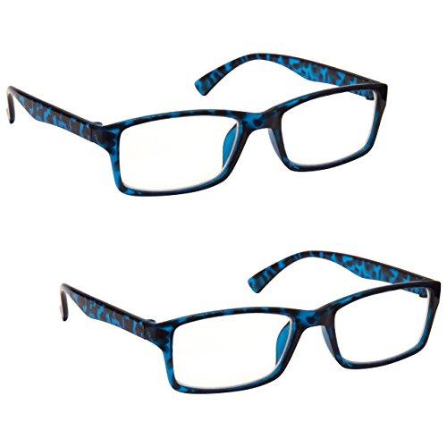 The Reading Glasses Lunettes de Lecture Bleu Écaille Lecteurs Valeur Set de 2 Designer Style Hommes Femmes RR92-3 +1,50