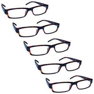 The Reading Glasses Lunettes de Lecture Marron Écaille Valeur Set de 5 Léger Hommes Femmes RRRRR32-2 +2,50