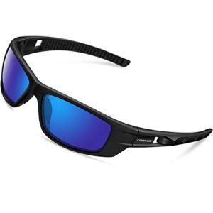 Torege TR040 – Lunettes de soleil polarisées mixtes pour sport, cyclisme, course à pied, pêche, golf, Black&Black&Blue Lens