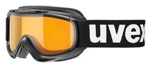 Uvex slider LGL, lunettes de ski Jeunesse unisexe, black/lasergold lite-clear, one size