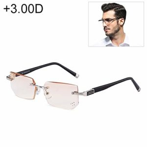 WWTTE Hommes Anti Fatigue Et Blue-Ray Rimless Strass Trimmed Lunettes De Presbyte, 3.00D F