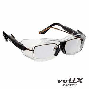 3 x voltX 'Retro Compact OVERGLASSES' – Petite/Moyenne Taille, sécurité Industrielle Overspecs-CE EN166ft certifié (lentille Transparente) – antifog, résistant aux Rayures, Protection UV