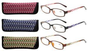 Eyekepper Lot de 3 lunettes de lecture pour dames avec un beau motif et un sac souple pour Femmes +1.25