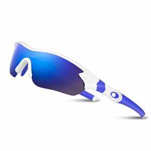 Lunettes de Soleil Sports Polarisées pour Hommes Femmes Jeunes Baseball Cyclisme Course Pêche Golf Moto UV400 Lunettes,Pour Surf Conduite Vélo Ski Pêche Golf Et Activités D'extérieur (Blanc Bleu)