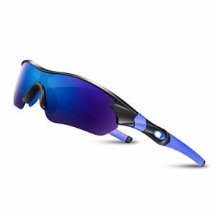 Lunettes de Soleil Sports Polarisées pour Hommes Femmes Jeunes Baseball Cyclisme Course Pêche Golf Moto UV400 Lunettes,Pour Surf Conduite Vélo Ski Pêche Golf Et Activités D'extérieur (Bleu Noir)