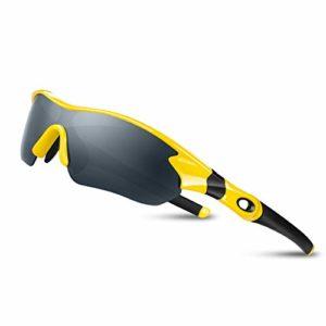 Lunettes de Soleil Sports Polarisées pour Hommes Femmes Jeunes Baseball Cyclisme Course Pêche Golf Moto UV400 Lunettes,Pour Surf Conduite Vélo Ski Pêche Golf Et Activités D'extérieur (Jaune Noir)