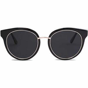 SOJOS Ronde Mode Lunettes de Soleil Polarisées Pour Femmes Hommes SJ1110 Avec Cadre Noir Mat/Lentille Noir