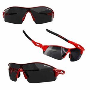VeloChampion Enfants Unisex été garçon Fille Junior Sports Warp Cyclisme Mode Lunettes de Soleil Cool Lunettes de Soleil UV400 UVA UVB Catégorie 3 Protection (Red)