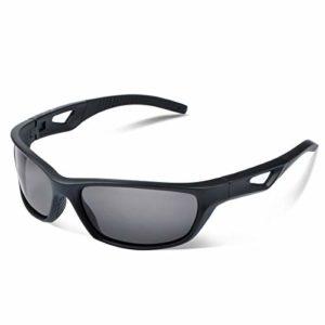 Vimbloom Lunettes de Soleil Hommes Polarisées Lunettes de sport Protection UV400 avec Conduite Vélo Pêche Golf Course à pied pour Hommes et Femmes VI685 (Mat Noir)