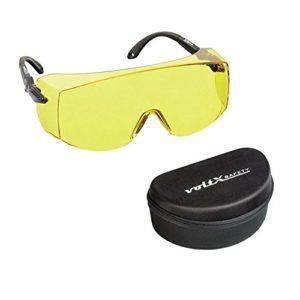 voltX 'OVERSPECS' Surlunettes de sécurité industrielle Overspecs, certifiées CE EN166F (à verres jaunes) – branches réglables individuellement – anticondensation, résistantes aux rayures, et protégées contre les rayons UV400, avec étui – Safety Glasses