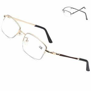 ZHAO Lunettes de lecture avec blocage de la lumière bleue pour femmes et hommes, lunettes de lecture par ordinateur, anti-fatigue oculaire, doré, +2.5