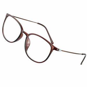 ZHAO Lunettes de lecture progressives multifocales classiques, anti-lumière bleue pour hommes et femmes, lunettes anti-lumière bleue, marron, +2.5
