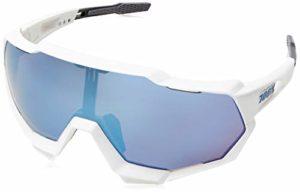 100% Speedtrap Lunettes de Cyclisme Mixte Adulte, Blanc Mat/Ecran Miroir Bleu