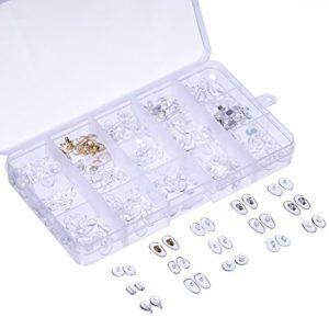15 Style Coussinets de Nez 150 Paires PVC Ultra-doux Nosepads pour Lunettes de Soleil Lunettes avec Boîtier de Rangement