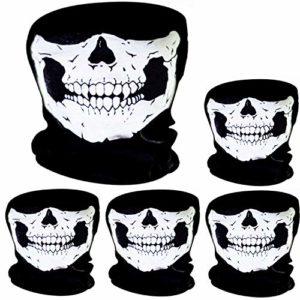 5 Pièces Masque de Crâne Masque de Visage de Crâne Vélo Moto Masque Squelette Demi-Visage Chapeau de Sport en Plein Air Halloween