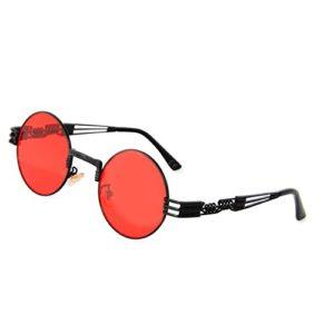 AMZTM Rétro Steampunk Lunettes de Soleil Lunettes Rondes Vintage Hippie pour Femme Armature en Métal Protection UV 400 (Lentille rouge à cadre noir, 49)