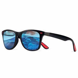 CHEREEKI Lunettes de Soleil Polarisées, Lunettes de Soleil Mode pour Hommes et Femmes Lunettes de Conduite 100% UV400 Protection (Noir+Bleu)