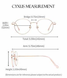 Cyxus Blocage de la lumière bleue [Lunettes anti-fatigue oculaire],Lunettes de lecture rétro à verres transparents, hommes/femmes (Or Rose-1)