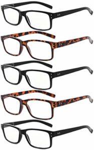 Eyekepper lot de 5 lunettes de lecture de qualité lecteurs de charnière à ressort pour la lecture Hommes Femmes +0.50