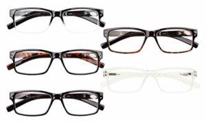 Eyekepper Lunettes non grossissantes pour hommes-5 Pack de lunettes pour hommes,+1.50 Lunettes pour femmes