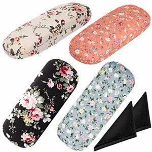Fiyuer boîte à Lunettes Fantaisie 8 Pcs Etui à Lunettes Femme Chiffon de Nettoyage Tissu pour Lunettes Glasses Box Case Grande Capacité Facile à Transporter Différentes Couleurs