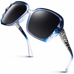 GQUEEN Lunettes de Soleil Femme Polarisées Mode Surdimensionné 100% UV400 Protection MOE6