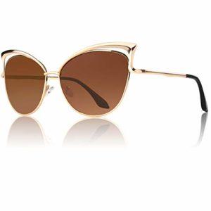 GQUEEN Lunettes de soleil polarisé Oeil de Chat Fashion Mode Classique cat eye Miroir Réfléchissantes cadre Métallique pour femme avec protection UV400 MT3