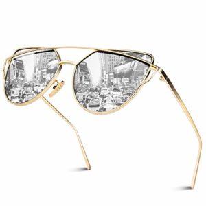 GQUEEN Lunettes de soleil Twin-Beams polarisé Oeil de Chat Fashion Mode Classique cateye Miroir Réfléchissantes cadre Métallique pour femme UV400 MS4