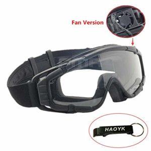 HaoYK Masque avec ventilateur pour ski, airsoft, moto, snowboard – Noir