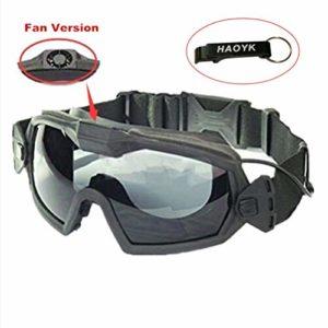 Haoyk Masque lunettes avec aérations pour sports de glisse et moto, Noir