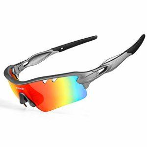 INBIKE Lunettes de Soleil Polarisées,Lunettes Vélo, Lunettes VTT Cyclisme Ski Randonnées Anti-UV avec 5 Lentilles Interchangeables