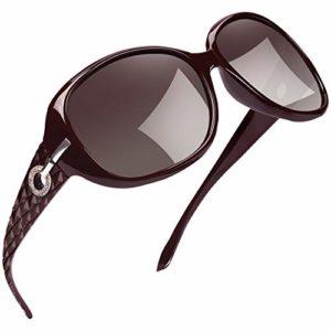 Joopin Surdimensionné Lunettes de soleil pour Femme – Protection UV Mode Polarisées Lunettes de soleil Mesdames U9045 (Vin rouge)