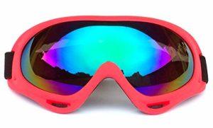 KKING Lunettes de Neige Unisexes Rouges Coupe-Vent 100% Protection UV, Lunettes de Ski de motoneige de Moto de Cyclisme, Lunettes de Soleil de Ski de Sports de Plein air,Coloré