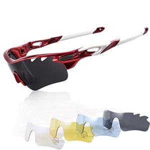 KuKoTi Lunette de Soleil Cyclisme Lunettes de Sport UV400 pour Outdoor, aves 5 Verres Interchangables