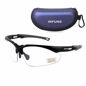 Lunettes de sécurité anti-buée claires avec étui, UV 400, lunettes de protection pour lentilles résistant aux rayures, protection pour champ de tir