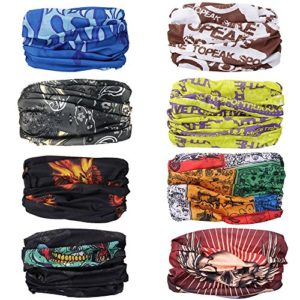Moliker headwear Bandanas capuchon de protection UV transparent Multi-fonction Stretchable Cache-nez tube écharpe masque casque sous le casque (1004)