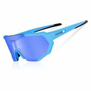 Queshark Lunettes de Soleil Polarisées avec 3 lentilles interchangeables pour Conduire des Lunettes de Cyclisme à la Course de Cyclisme en Cyclisme (Bleu)