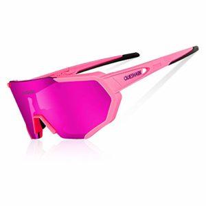 Queshark Lunettes de Soleil Polarisées avec 3 lentilles interchangeables pour Conduire des Lunettes de Cyclisme à la Course de Cyclisme en Cyclisme (Rose)