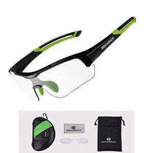 ROCKBROS Lunettes de Soleil de Cyclisme Unisexe Photochromique Protection UV pour Sports de Plein air, Noir/Vert