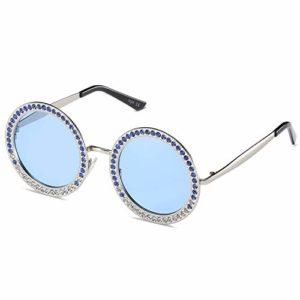 SOJOS Lunettes de Soleil Rétro Rond Métal pour Femme SJ1095 avec Argenté Cadre/Bleu Lentille