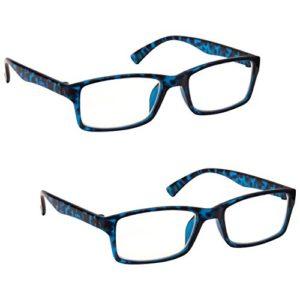 The Reading Glasses Lunettes de Lecture Bleu Écaille Lecteurs Valeur Set de 2 Designer Style Hommes Femmes RR92-3 +1,00